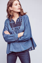 Ne Quittez Pas Embroidered Chambray Pullover