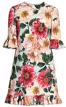 Dolce & Gabbana Floral Cady Ruffle Hem Dress