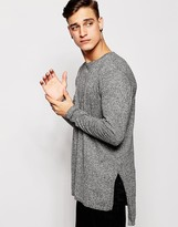 Asos Longline Side Split Sweater in Black Twist