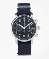 Brooks Brothers Round Navy Automatic Chronograph Watch with Nylon Straps