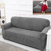 Bluecookies Stretch Sofa Slipcover 1-Piece Elastic Fabric Couch Cover Protector Grey