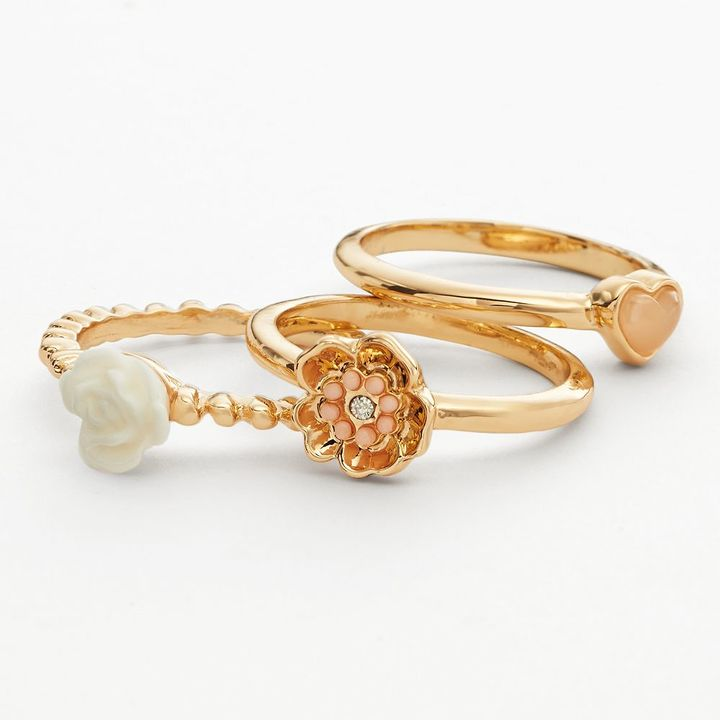 Lauren Conrad flower & heart stack ring set
