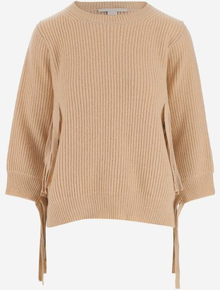 Stella McCartney Beige Rib-Knit Fringed Women's Jumper