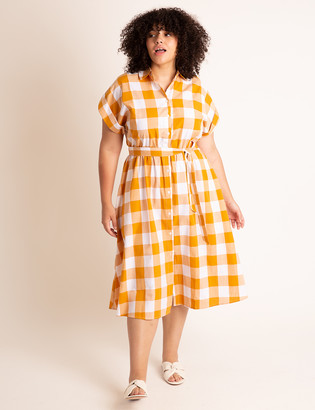 ELOQUII Midi Shirtdress With Wide Belt
