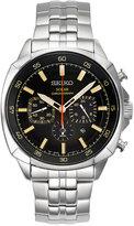 Seiko Men's Solar Chronograph Recraft Stainless Steel Bracelet Watch 43mm SSC511