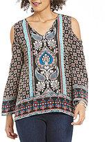Tolani Claire V-Neck Cold-Shoulder Printed Silk Tunic
