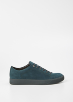Lanvin dark green nubuck low top sneaker