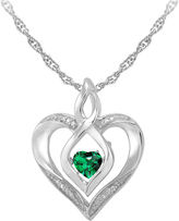 JCPenney FINE JEWELRY Love in Motion Simulated Emerald and Diamond-Accent Heart Pendant Necklace