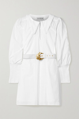 Nicholas Bella Belted Shirred Cotton-poplin Mini Shirt Dress - White