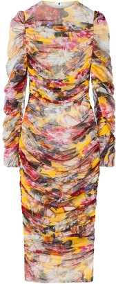 Dolce & Gabbana Ruched Floral-Print Dress