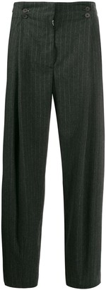 Maison Flaneur Pinstriped High-Waisted Trousers
