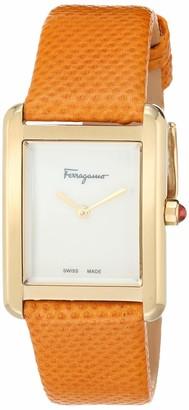 Salvatore Ferragamo Stainless Steel Analog Quartz Watch with Leather Strap Orange 15.7 (Model: 7630030546334)