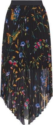 Maje Asymmetric Floral-print Georgette Midi Skirt