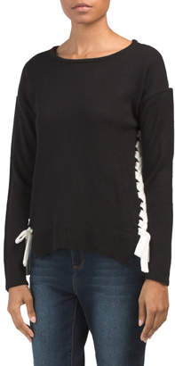 Color Block Lace Up Pullover Sweater
