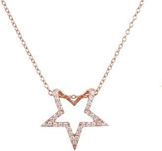 Latelita Diamond Open Star Pendant Necklace Rosegold