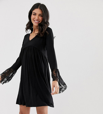 Asos Tall DESIGN Tall v neck swing dress with flared lace cuffs-Black