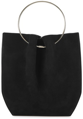 The Row Micro Black Suede Top Handle Bag