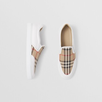 Burberry Leather and Vintage Check Slip-on Sneakers