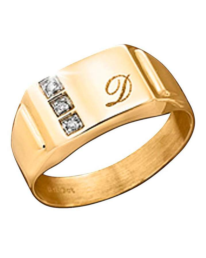 Fashion World 9ct Gold Diamond-Set Personalised Ring