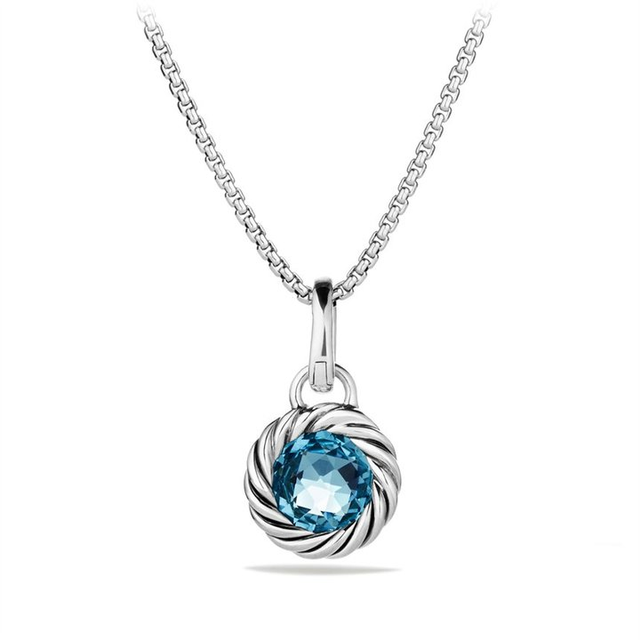 David Yurman Cable Collectibles Round Charm with Blue Topaz