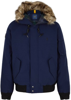 Polo Ralph Lauren Navy Faux Fur-trimmed Shell Bomber Jacket