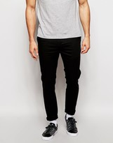Asos Cropped Skinny Chinos In Black