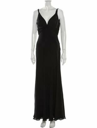 Carmen Marc Valvo Silk Long Dress Black