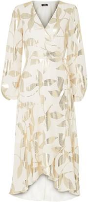 Wallis Silver Foil Leaf Print Midi Dress