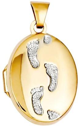 Two-tone Oval Footprint Locket, 14K Gold