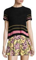 RED Valentino Striped Open Knit Cotton Top