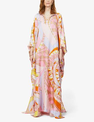 Emilio Pucci Graphic-print flared-hem silk kaftan
