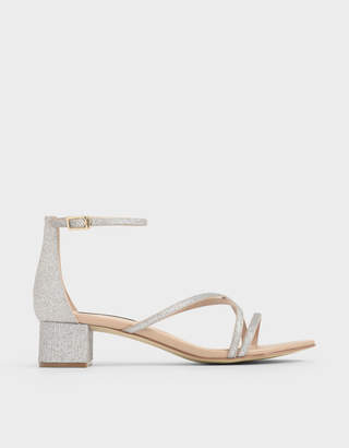 Charles & Keith Glitter Strappy Heeled Sandals