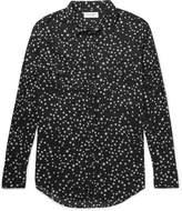 Saint Laurent Slim-fit Star-print Cotton-voile Shirt - Black
