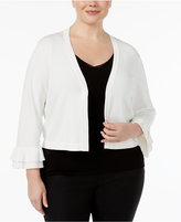 Calvin Klein Plus Size Ruffle-Sleeve Cropped Cardigan