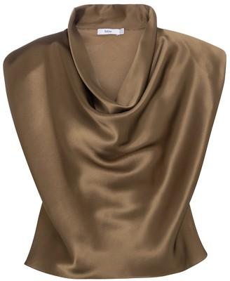 Safiyaa Kaia cowl-neck silk satin top