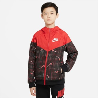 Nike Kids' Sportswear Allover Print Swoosh Windbreaker Jacket