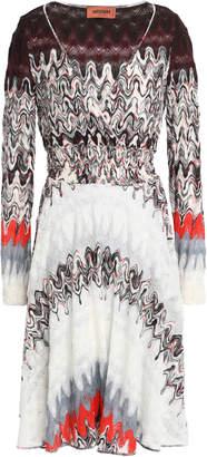 Missoni Wrap-effect Metallic Printed Crochet-knit Wool-blend Dress