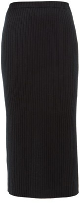 Allude Rib-knitted Cashmere Midi Skirt - Black