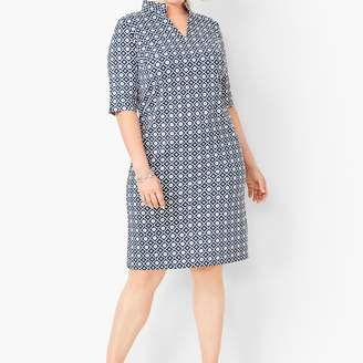 Talbots Jersey Tile-Print Shift Dress