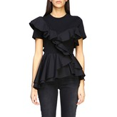 Alexander McQueen Short-sleeved T-shirt With Maxi Rouches