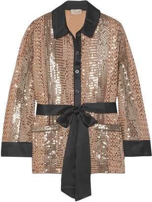 Temperley London Belted Silk Satin-trimmed Sequin-embellished Georgette Shirt