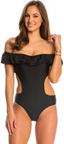 Jessica Simpson Ruffled Up Cut Out One Piece Swimsuit 8145297