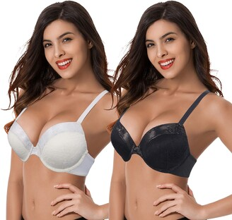 Curve Muse Womens Push Up Add 1 and a Half Cup Underwire Halter Front Close Bras