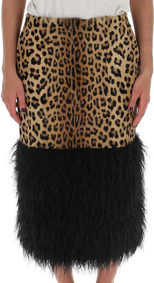 Saint Laurent Leopard Print Pencil Skirt