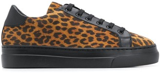 Doucal's Leopard-Print Lace-Up Sneakers