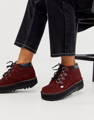 Kickers Kick Hi Creepy burgundy suede and leather hi top flat boots