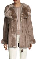 Via Spiga Faux Fur Wrap Coat