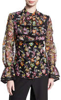 Zac Posen Floral-Embroidered Organza Ruffle Shirt, Multicolor