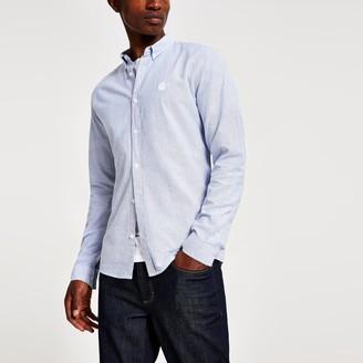 River Island Mens Navy slim fit stripe long sleeve Oxford shirt