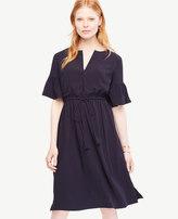 Ann Taylor Petite Split Neck Drawstring Dress